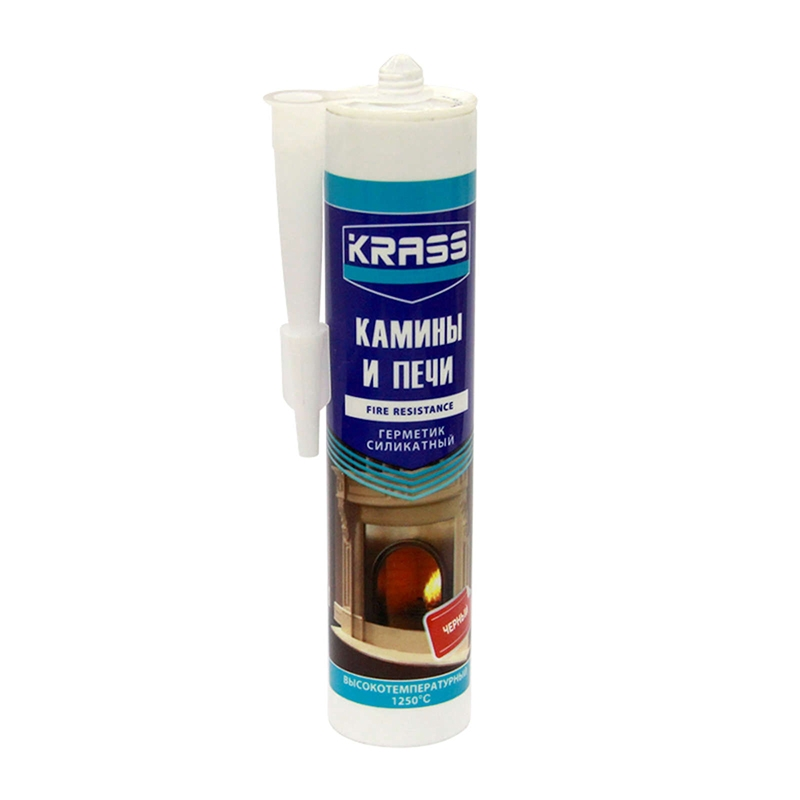 Герметик KRASS для каминов и печей 1250С силикатный Черный 300мл