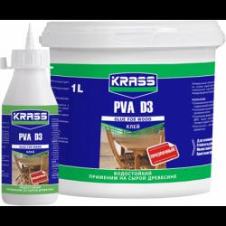 Клей KRASS водостойкий PVA D3 для древесины Белый 0,5л