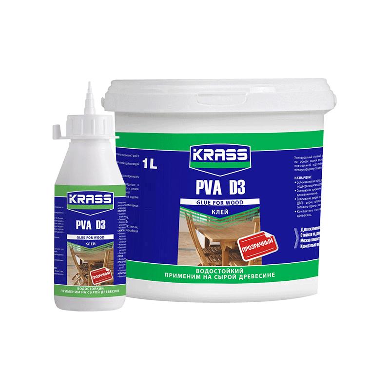 Клей KRASS водостойкий PVA D3 для древесины Белый 1л